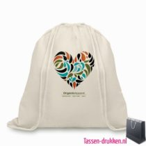 Biologisch katoenen rugzakje bedrukken duurzaam, tassen bedrukken, tasje bedrukt, bedrukte tas met logo