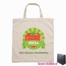 Biologisch katoenen tas met logo, tassen bedrukken, tasje bedrukt, bedrukte tas met logo