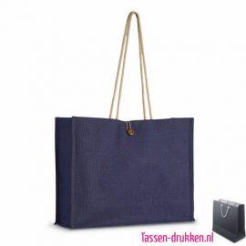 Duurzame tas jute bedrukken blauw, jute tas bedrukt, bedrukte jute tas met logo