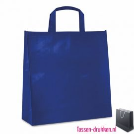 Gelamineerde boodschappentas bedrukken blauw, boodschappentas tas bedrukt, bedrukte boodschappentas, goedkope boodschappentas met logo, big shopper bedrukken