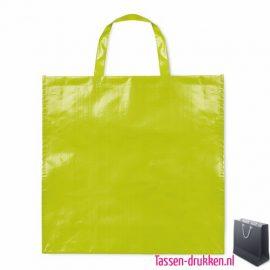 Gelamineerde boodschappentas bedrukken lime, boodschappentas tas bedrukt, bedrukte boodschappentas, goedkope boodschappentas met logo, big shopper bedrukken