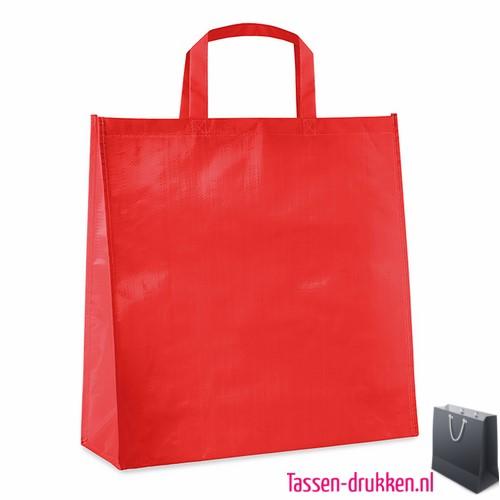 Gelamineerde boodschappentas bedrukken rood, boodschappentas tas bedrukt, bedrukte boodschappentas, goedkope boodschappentas met logo, big shopper bedrukken