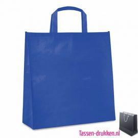 Gelamineerde boodschappentas bedrukt blauw, boodschappentas tas bedrukt, bedrukte boodschappentas, goedkope boodschappentas met logo, big shopper bedrukken