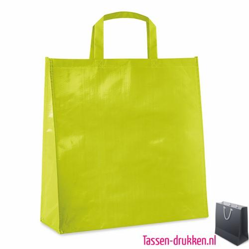 Gelamineerde boodschappentas bedrukt lime, boodschappentas tas bedrukt, bedrukte boodschappentas, goedkope boodschappentas met logo, big shopper bedrukken