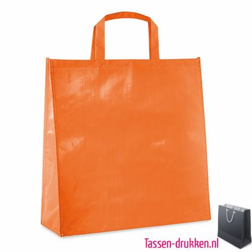 Gelamineerde boodschappentas bedrukt oranje, boodschappentas tas bedrukt, bedrukte boodschappentas, goedkope boodschappentas met logo, big shopper bedrukken