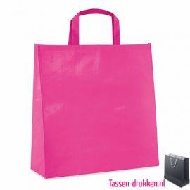 Gelamineerde boodschappentas bedrukt roze, boodschappentas tas bedrukt, bedrukte boodschappentas, goedkope boodschappentas met logo, big shopper bedrukken