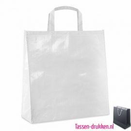 Gelamineerde boodschappentas bedrukt wit,, boodschappentas tas bedrukt, bedrukte boodschappentas, goedkope boodschappentas met logo, big shopper bedrukken
