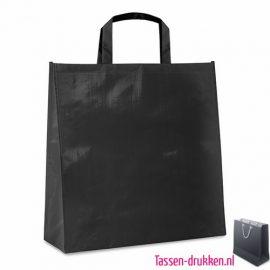 Gelamineerde boodschappentas bedrukte zwart, bedrukte Non woven tas, goedkope herbruikbare tas bedrukken