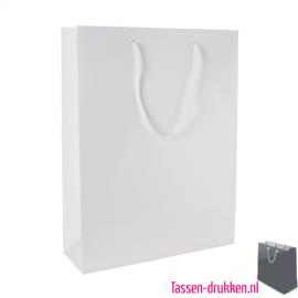 Gelamineerde geschenktas wit bedrukken, Gelamineerde papieren tas bedrukt, bedrukte papieren tas met logo, goedkope papieren tas