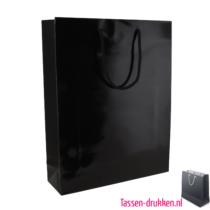Glans gelamineerde geschenktas bedrukkenn zwart, Gelamineerde papieren tas bedrukt, bedrukte papieren tas met logo, goedkope papieren tas
