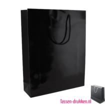 Glans gelamineerde tas bedrukken zwart, Gelamineerde papieren tas bedrukt, bedrukte papieren tas met logo, goedkope papieren tas
