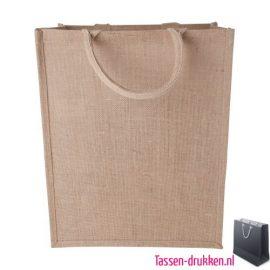 Jute tas duurzaam bedrukken naturel, jute tas bedrukt, bedrukte jute tas met logo