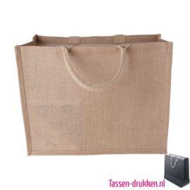 Jute tas shopper bedrukken duurzaam, jute tas bedrukt, bedrukte jute tas met logo