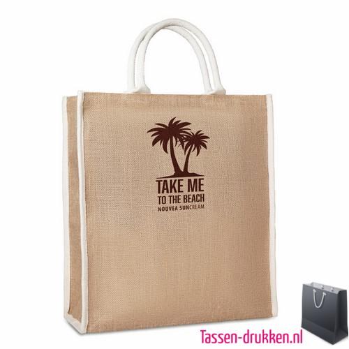 Jute tas stevig bedrukken milieuvriendelijk, jute tas bedrukt, bedrukte jute tas met logo