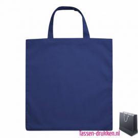 Katoenen boodschappentas bedrukken blauw, biologisch tasje bedrukt, duurzaam tasje met logo, goedkope katoenen tas
