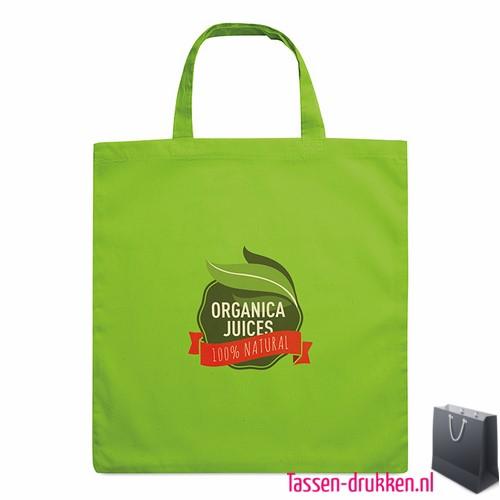 Katoenen boodschappentas bedrukken groene, biologisch tasje bedrukt, duurzaam tasje met logo, goedkope katoenen tas