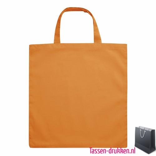 Katoenen boodschappentas bedrukken oranje, biologisch tasje bedrukt, duurzaam tasje met logo, goedkope katoenen tas