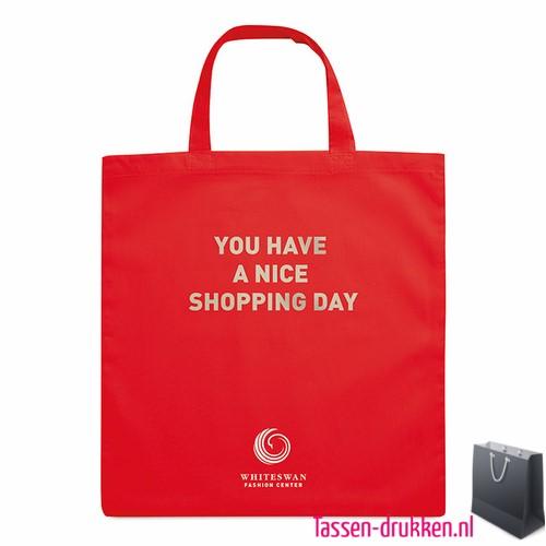 Katoenen boodschappentas bedrukken rood, biologisch tasje bedrukt, duurzaam tasje met logo, goedkope katoenen tas