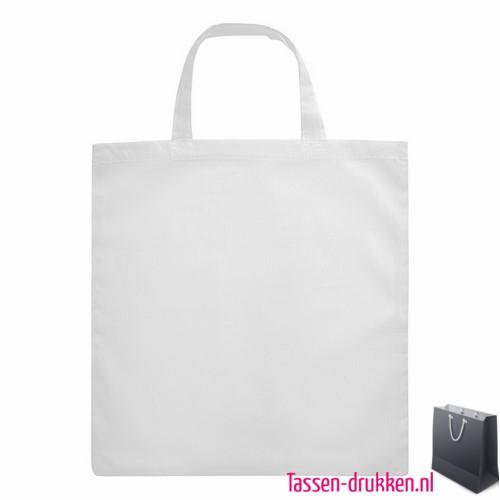 Katoenen boodschappentas bedrukken wit, biologisch tasje bedrukt, duurzaam tasje met logo, goedkope katoenen tas