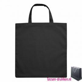 Katoenen boodschappentas bedrukken zwart, biologisch tasje bedrukt, duurzaam tasje met logo, goedkope katoenen tas
