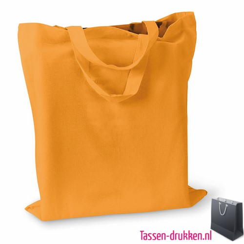 Katoenen boodschappentas bedrukt oranje, biologisch tasje bedrukt, duurzaam tasje met logo, goedkope katoenen tas