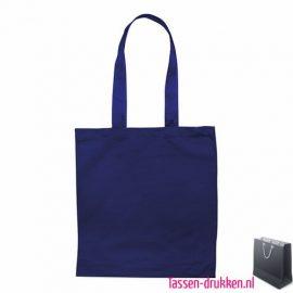 Katoenen shopper bedrukken blauwe, biologisch tasje bedrukt, duurzaam tasje met logo, goedkope katoenen tas