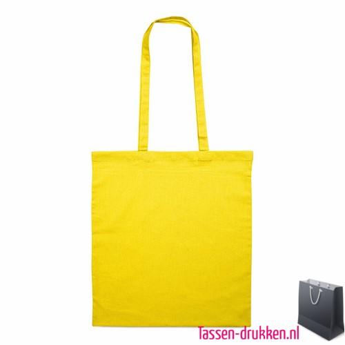 Katoenen shopper bedrukken gele, biologisch tasje bedrukt, duurzaam tasje met logo, goedkope katoenen tas