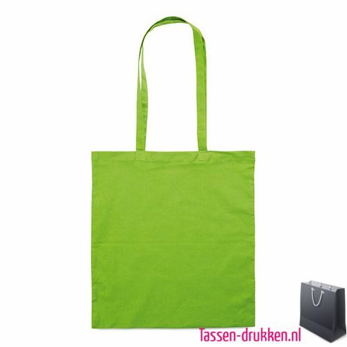 Katoenen shopper bedrukken groen, biologisch tasje bedrukt, duurzaam tasje met logo, goedkope katoenen tas