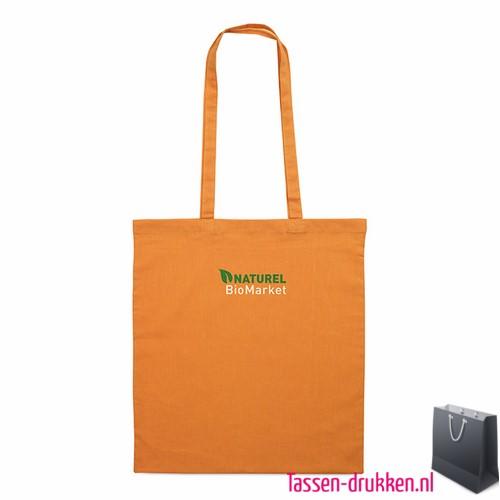 Katoenen shopper bedrukken oranje, biologisch tasje bedrukt, duurzaam tasje met logo, goedkope katoenen tas