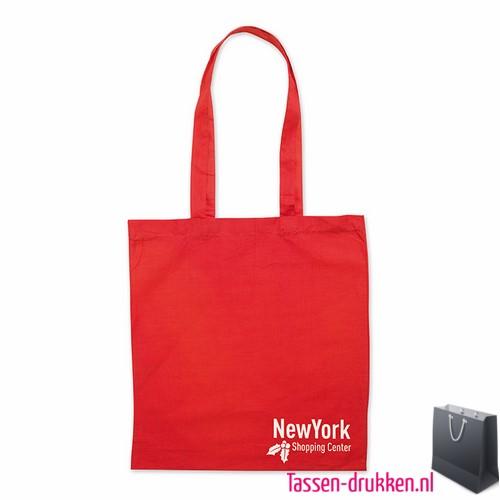Katoenen shopper bedrukken rood, biologisch tasje bedrukt, duurzaam tasje met logo, goedkope katoenen tas