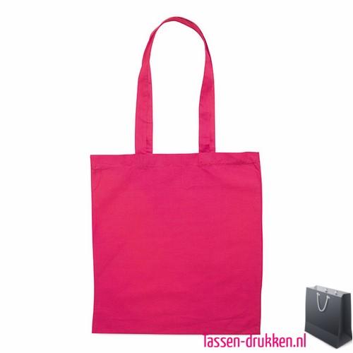 Katoenen shopper bedrukken roze, biologisch tasje bedrukt, duurzaam tasje met logo, goedkope katoenen tas