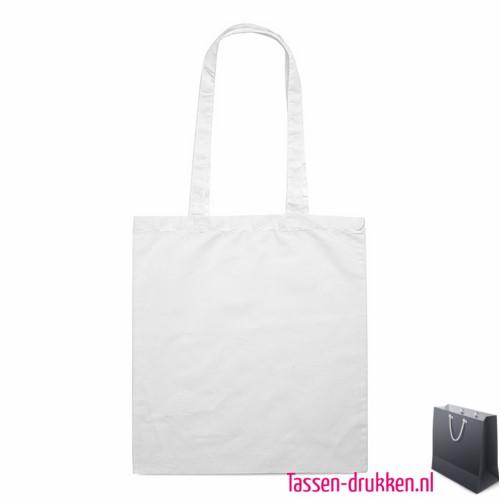 Katoenen shopper bedrukken witte, biologisch tasje bedrukt, duurzaam tasje met logo, goedkope katoenen tas