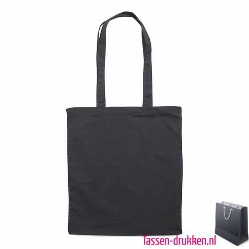 Katoenen shopper bedrukken zwart, biologisch tasje bedrukt, duurzaam tasje met logo, goedkope katoenen tas