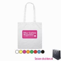 Katoenen shopper bedrukken, biologisch tasje bedrukt, duurzaam tasje met logo, goedkope katoenen tas