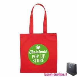 Katoenen shopper bedrukt rood, biologisch tasje bedrukt, duurzaam tasje met logo, goedkope katoenen tas