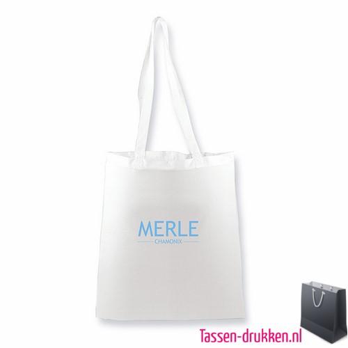 Katoenen shopper bedrukt wit, biologisch tasje bedrukt, duurzaam tasje met logo, goedkope katoenen tas