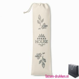 Katoenen stokbrood tasje bedrukken duurzaam, tassen bedrukken, tasje bedrukt, bedrukte tas met logo