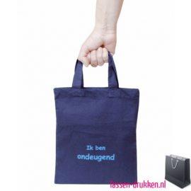 Katoenen tas klein bedrukken blauw, katoenen tas bedrukt, bedrukte gekleurde katoenen tassen, goedkope katoenen tassen