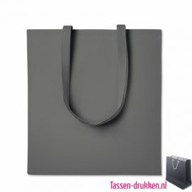 Katoenen tassen bedrukken grijs, biologisch tasje bedrukt, duurzaam tasje met logo, goedkope katoenen tas