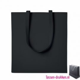 Katoenen tassen bedrukken zwart, biologisch tasje bedrukt, duurzaam tasje met logo, goedkope katoenen tas
