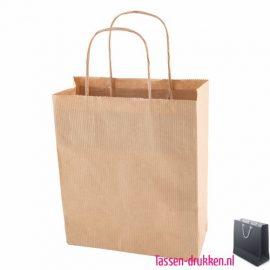 Kraft draagtas bedrukken naturel, bedrukte papieren tas, kraft draagtas met logo, goedkope tasjes