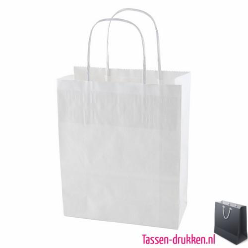 Kraft draagtas bedrukken wit, bedrukte papieren tas, kraft draagtas met logo, goedkope tasjes