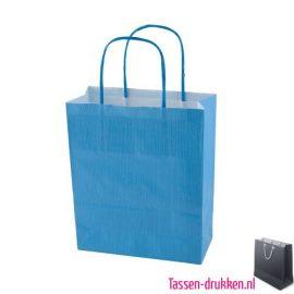 Kraft draagtas color bedrukken blauw, papieren tas bedrukt, bedrukte papieren tas met logo, goedkope papieren tas