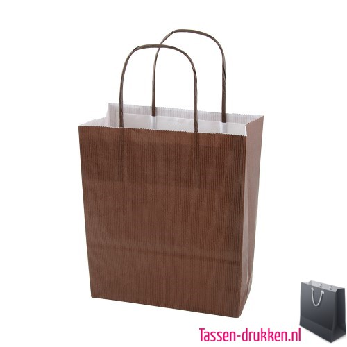 Kraft draagtas color bedrukken bruin, papieren tas bedrukt, bedrukte papieren tas met logo, goedkope papieren tas
