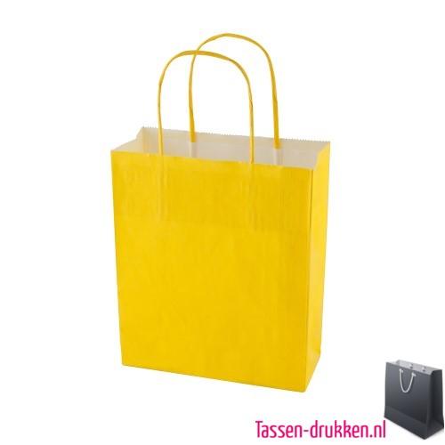 Kraft draagtas color bedrukken geel, papieren tas bedrukt, bedrukte papieren tas met logo, goedkope papieren tas