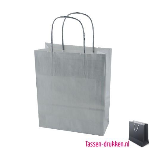 Kraft draagtas color bedrukken grijs, papieren tas bedrukt, bedrukte papieren tas met logo, goedkope papieren tas