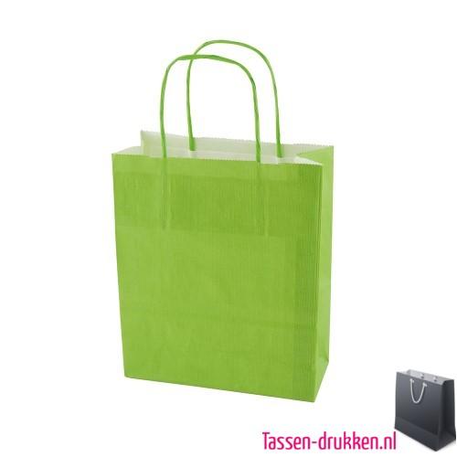 Kraft draagtas color bedrukken lichtgroen, papieren tas bedrukt, bedrukte papieren tas met logo, goedkope papieren tas