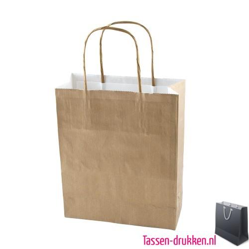 Kraft draagtas color bedrukken naturel, papieren tas bedrukt, bedrukte papieren tas met logo, goedkope papieren tas