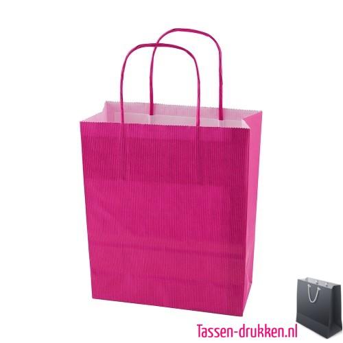 Kraft draagtas color bedrukken roze, papieren tas bedrukt, bedrukte papieren tas met logo, goedkope papieren tas