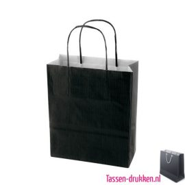 Kraft draagtas color bedrukken zwart, papieren tas bedrukt, bedrukte papieren tas met logo, goedkope papieren tas